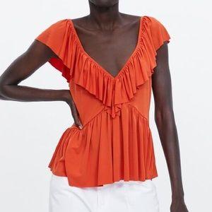 Orange Zara Ruffle Top